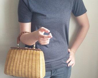 Vintage 1960's Wicker Purse - Wicker Handbag - Retro - Lesco Lona