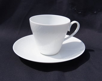 Rosenthal Romance Wiinblad German White Tea Cup and Saucer