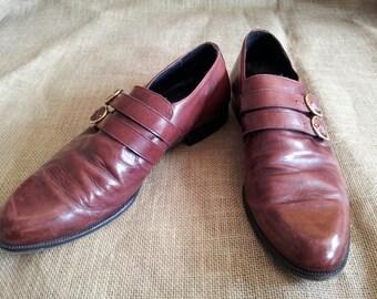Oxblood Men's Buckle Dress Shoes // Monk Strap Shoes Size 11