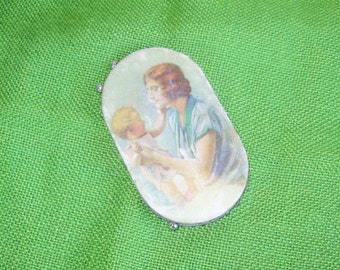 CLEARANCE! Antique Prudential Insurance Advertising Giva Away Sewing Pin/Needle Keep Holder and Pins-Mother & Baby Child 1920's