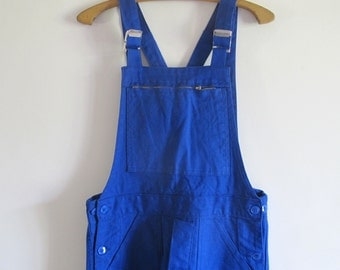 Vintage French Workwear overalls Blue cotton sanforized dungarees // new from old stock