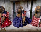 Primitive Folk Art-Americana Crows on Parade-Set of 3-Patriotic, American, American Flag, July 4th-Handcrafted-Hafair Team, FAAP
