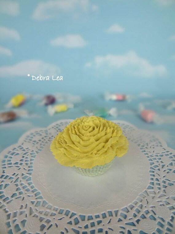 Fake Cupcake Handmade Spring Garden Shabby Chic Cottage Victorian Faux Tea Cake Yellow Shabby Chic Valentine's day
