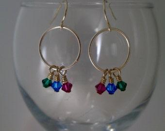 Jewel Tones Silver and Swarovski Crystal Earrings