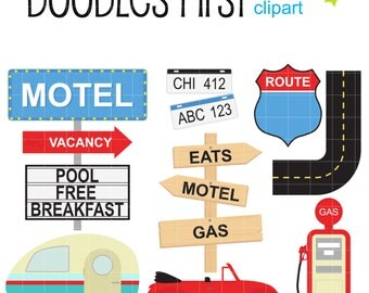 Road Trip Digital Clip Art for Scrapbooking Card Making Cupcake Toppers Paper Crafts