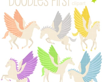 Mystical Pegasus Digital Clip Art for Scrapbooking Card Making Cupcake Toppers Paper Crafts
