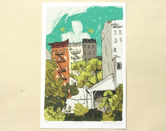 "Nolita - New York City Art Print - NYC Illustration - Elizabeth Street Garden 5x8"""
