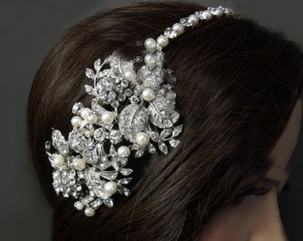 Vintage Style Side Bridal Headband Tiara, Side Headdress, Asymmetrical Wedding Headband, Freshwater Pearl and Rhinestone Headband VINE LEAF