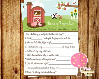 Nursery Rhyme Quiz Game, instant download, Farm Baby Shower Game