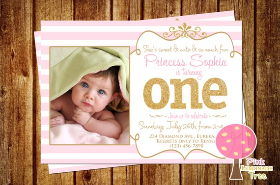 My First Birthday Invitation - 1st birthday invitations gold and pink