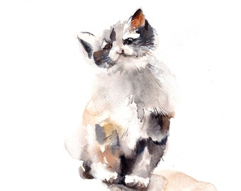 Kitten Original Watercolor Painting, Cat Watercolour Art