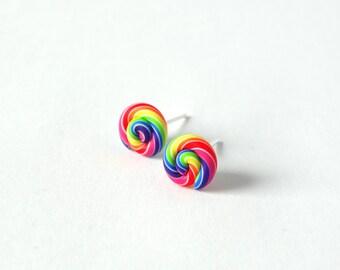 Kawaii colourful rainbow swirl post earrings ear studs rainbow LGBT love everyone handmade polymer clay LGBT accessory