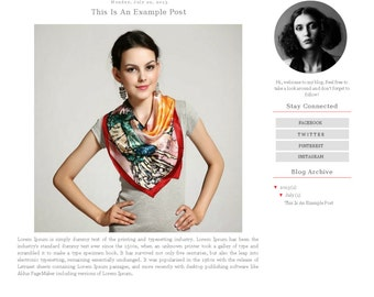 Fashion Blogger Template - Simple Geometric Modern Blog Design - Blog Theme - Blog Layout - Blog Template