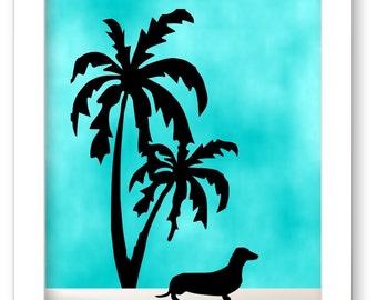 Dachshund Art Print, Nautical Decor, Dog Lover Gift,  Beach House Decor, Palm Tree Art, Dachshund Gift