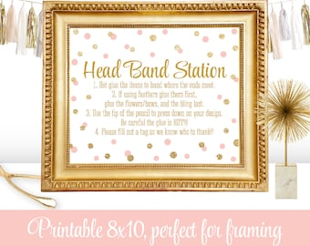 headband station party sign girl birthday party or baby shower ideas