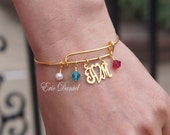 Couples Monogram Heart Birthstone Bangle, Monogram Bangle, Monogram Bracelet, Anniversary Bracelet, Mothers Day, Mother Daughter