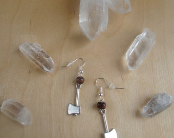 In Love With A Lumberjack: Silver Axe Charm Earrings. Camping Earrings. The Great Outdoors.