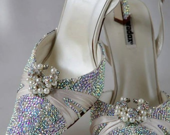 Bridal shoes - Ivory Cream Pearl and ab crystal Embellished Wedding shoes size 6 (39) one off pair