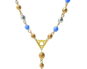 Cornflower blue, gold silver necklace, Beaded y necklace, Elegant brildal necklace, Bridesmaids gift, Feminine jewellery, UK