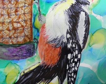 Woodpecker Alcohol Ink Bird Painting 8 x10 on Yupo Paper