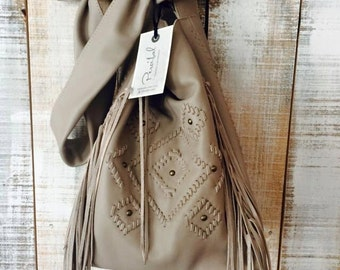Gray beige leather bag, leather crossbody purse, fringes boho bag, soft leather bag