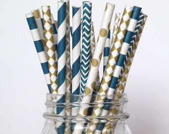 Navy Gold Straws, Navy Blue Straws, Navy Blue Wedding Navy Gold Wedding, Nautical Party Decor, Navy Blue Party, Navy Engagement Party