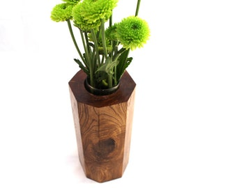 Ash Hexagon Flower Vase | Wood Bud Vase | Wood Home Accessories | Flower Holder | Natural Home Decor | Geometric Mother's Day Gift