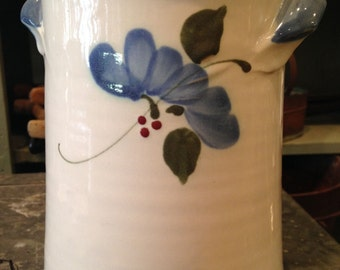 "Ceramic Glazed Dahlstedt Canister with Handles - 6 1/2"" Tall"