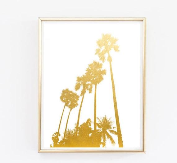 Palma árboles hoja de oro falso viaje impresión pared arte