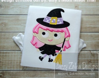 Witch 80 Applique embroidery Design - Halloween Applique Design - Witch Applique Design - girl Applique Design