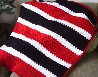 It's Great to Be a Grenadier Slanted Shell Afghan - Red and Black Afghan - Team Spirit Afghan - Red and Black Throw - Chunky Afghan