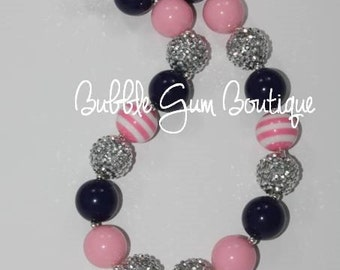 Pink and Navy Anchor Bubble Gum Bead Necklace