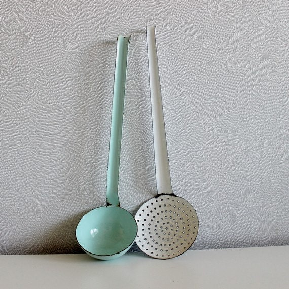Vintage French Enamel Utensils In Mint And White