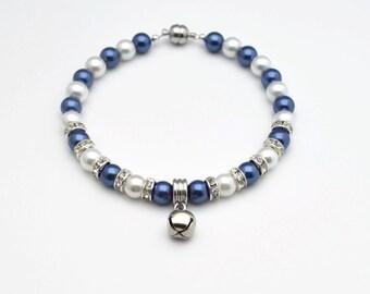 Cat Collar,Dog Collar,Blue&White Pearl Dog Collar,Pearl Cat Collar,Beaded Dog Collar,Beaded Collar,Fancy Cat Collar,Fancy Dog Collar,Bell