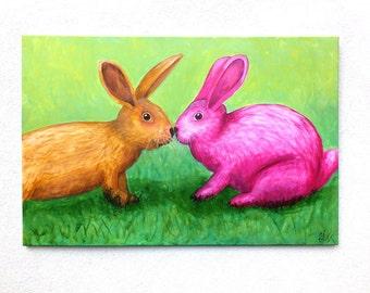 "Bunny Rabbit Painting, Original Acrylic Painting, Canvas, Large Wall Art, Colorful Original Art, Large Artwork 90 x 60 cm (35.4"" x 23.6"")"