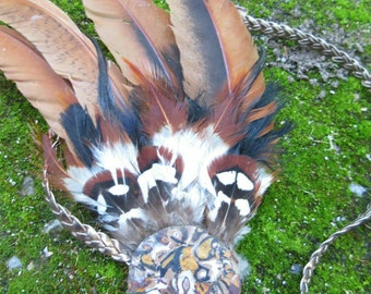Tribal worrier feather headpiece, natural feathers on polymer clay base,boho gypsy festival fashion jewellery, earthy cruelty free feathers.