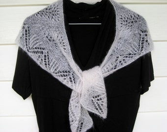 White knitted lace shawl, white mohair wedding shawl