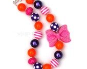 Explorer Chunky Necklace-Hot Pink Purple Orange Chunky Necklace-Boutique Necklace-Photography Prop-Birthday Necklace-Chunky Jewelry