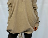 Oversize Loose Hooded Cape Top Long Sleeves Women Tunic Maxi Blouse Grey Hooded Coat Sweater Dress Knitwear large knitted sweater MD10008