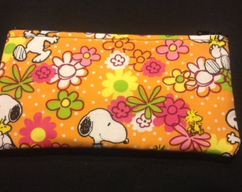 Peanut's Snoopy and Woodstock Pencil Case / Zipper Pouch #155
