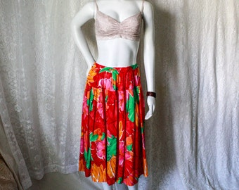SALE - Red Floral Skirt with Parrots - S/M