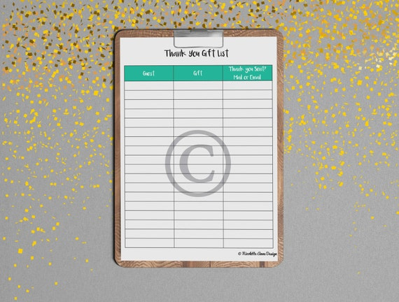 thank you printable gift log gift log printable wedding