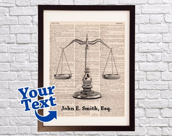 Scales of Justice Dictionary Art Print - Lawyer Art - Gift For Attorney - Print on Vintage Dictionary Paper - Law School Graduation Gift