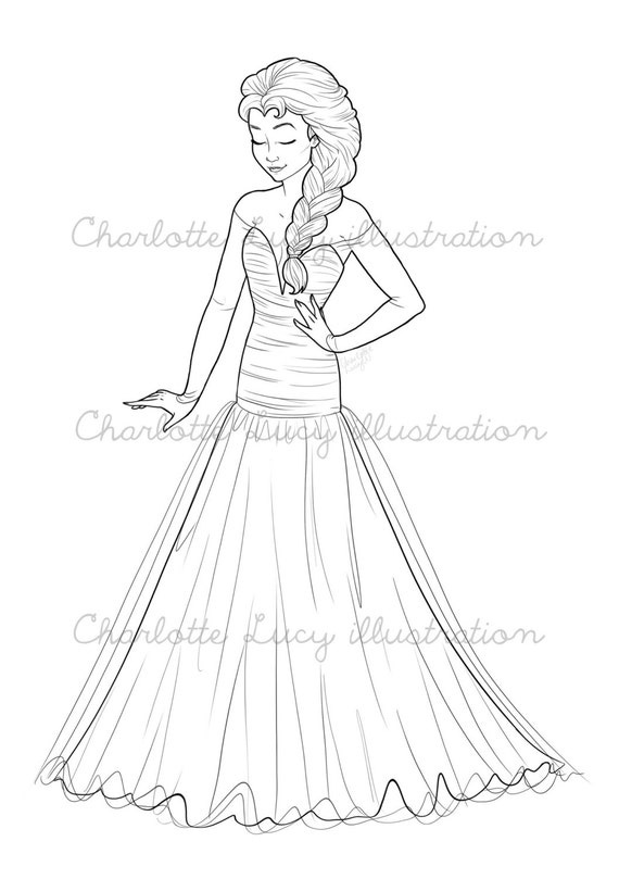 Frozen Wedding Coloring Pages : Colouring page queen elsa from frozen wedding by
