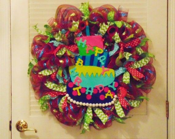Happy birthday wreath deco mesh wreath birthday wreath birthday
