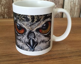 Ceramic mug of an owl painting, digital design based on one of my original paintings (603)