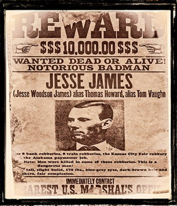 Wild West Cowboy Party Wanted Posters For Billy The Kid Jesse James And Bob  Ford. Download And Print 3 Posters For 99p