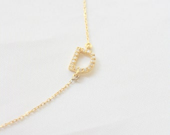 Initial Sideways Necklace with CZ ~ Initial Letter Necklace ~ Sideways Initial Necklace ~ 14K Rose Gold Personal Necklace ~ Mothers Gif