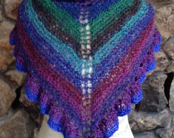 Spring Shawl in jewel colors hand knitted in silk and wool yarn with ribbon ruffle trim 24 inches high by 56 inches wide