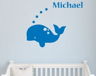 Wall Decal Name Personalized Custom Decals Vinyl Sticker Art Home Decor Mural Whale Baby Decor Nursery MS36